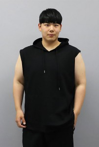 PB31466 빅사이즈남성 베이직 후드민소매티(블랙)